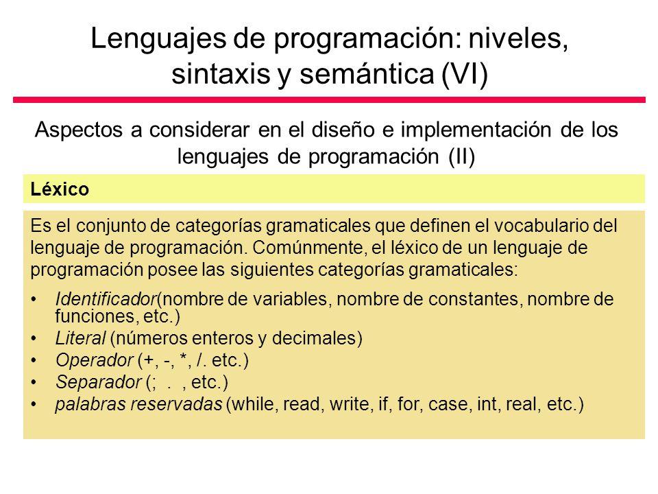 Lenguajes de programación: niveles, sintaxis y semántica (VI)