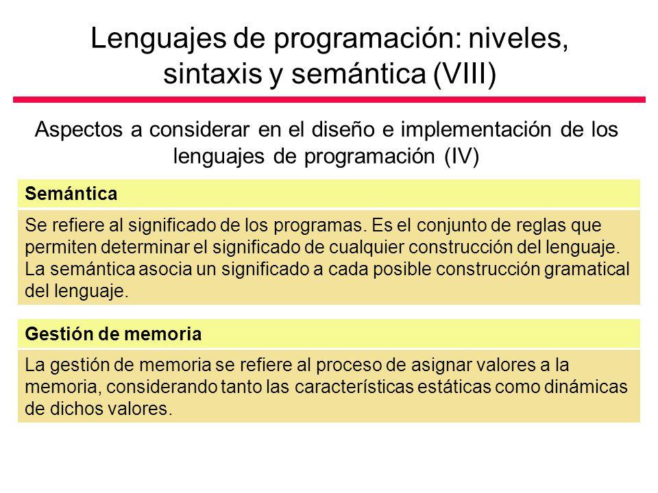 Lenguajes de programación: niveles, sintaxis y semántica (VIII)