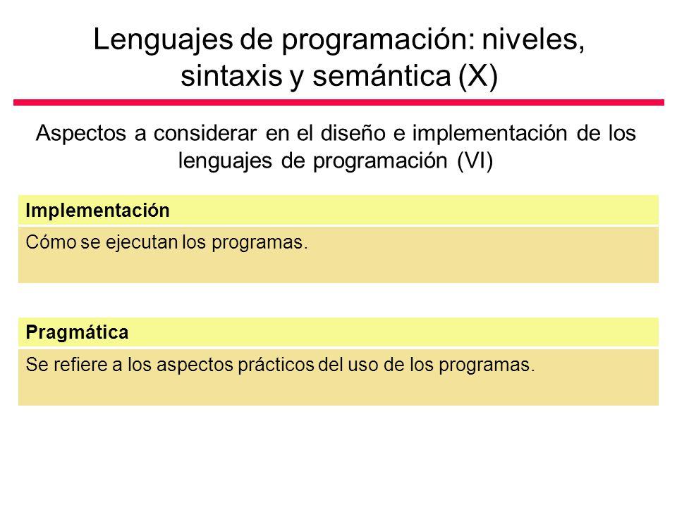 Lenguajes de programación: niveles, sintaxis y semántica (X)