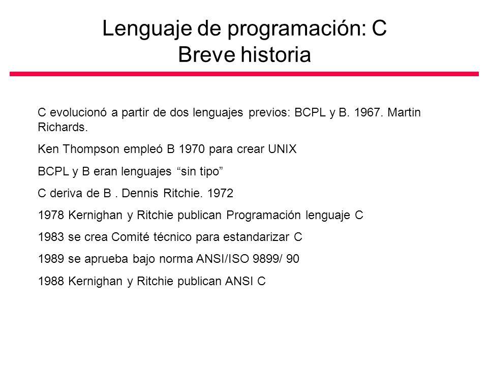 Lenguaje de programación: C Breve historia