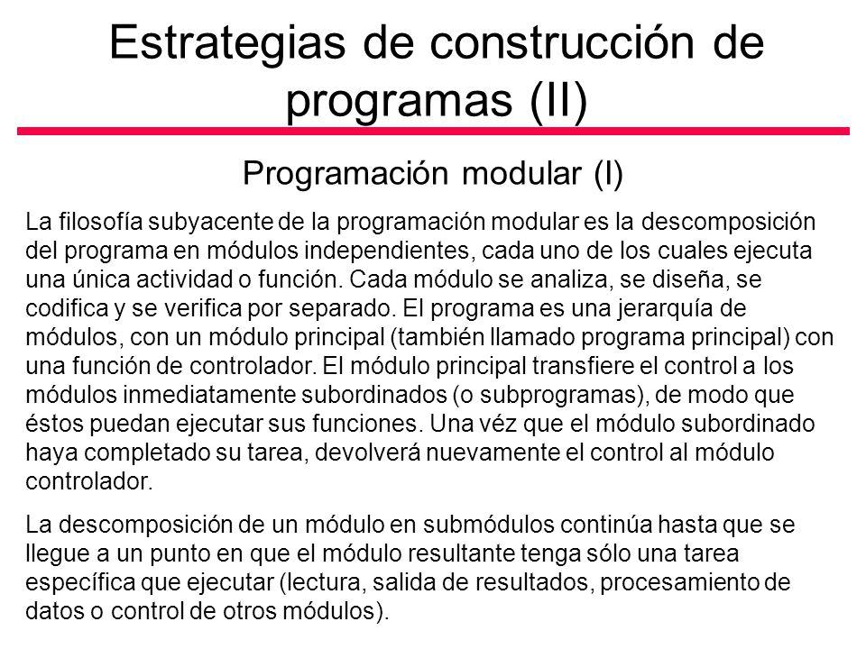 Estrategias de construcción de programas (II)