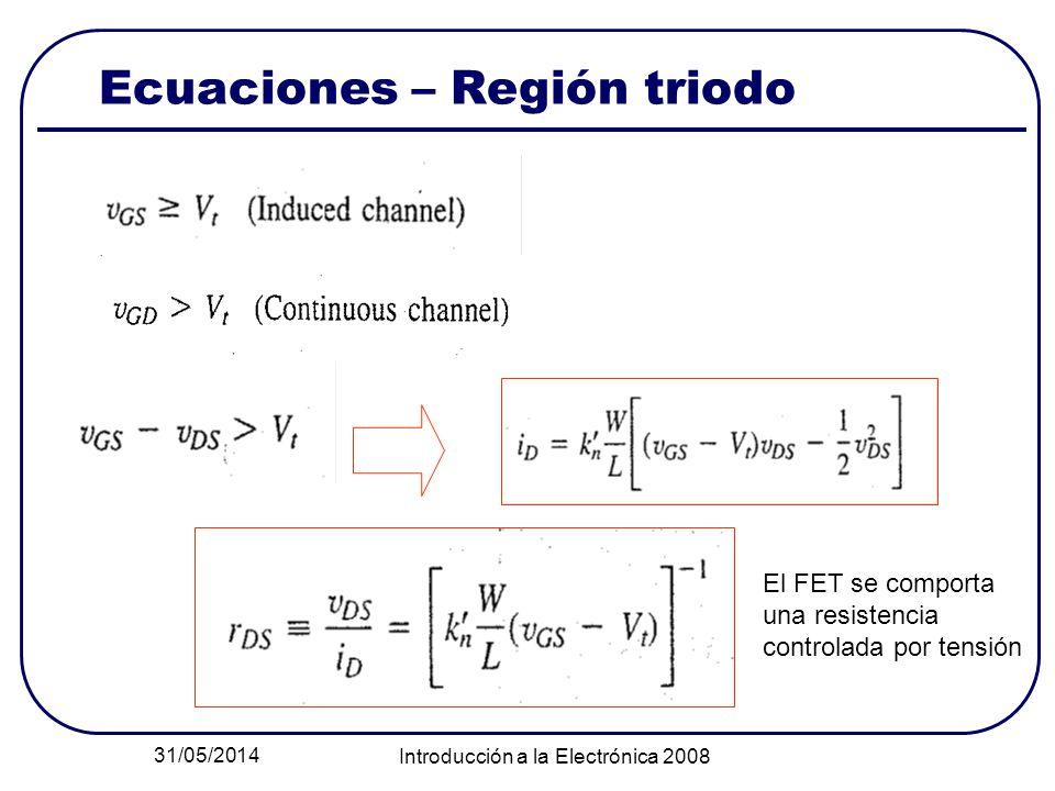 Ecuaciones – Región triodo