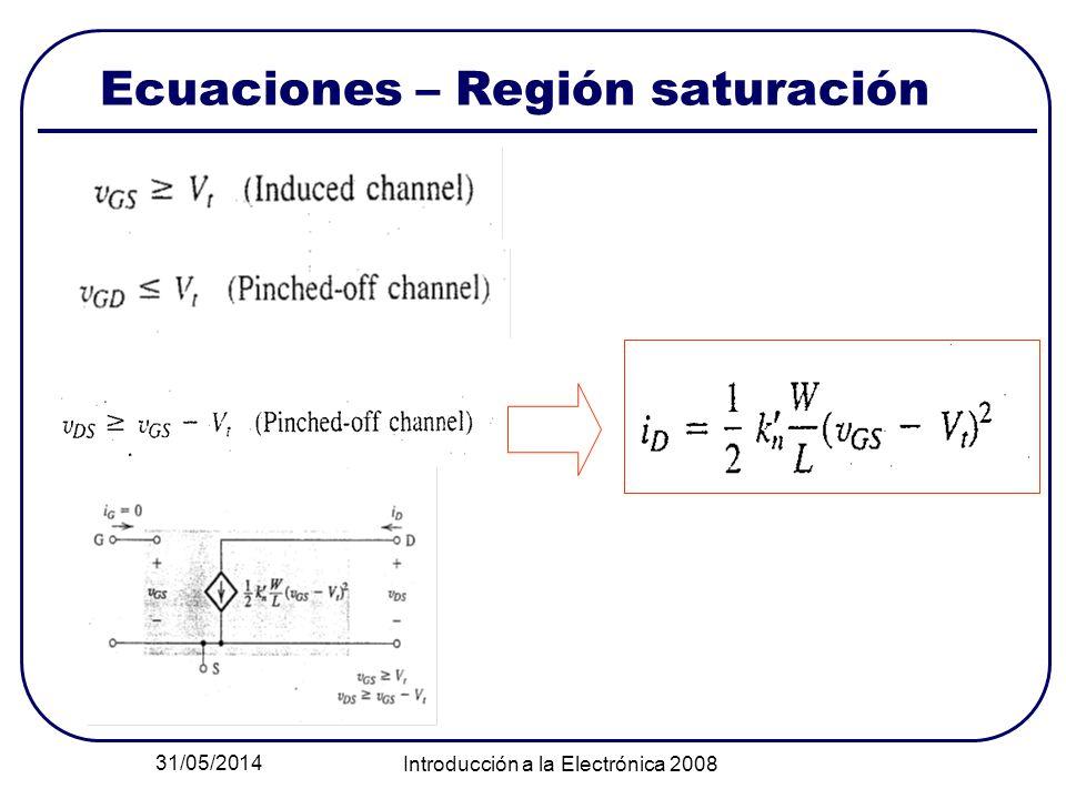 Ecuaciones – Región saturación