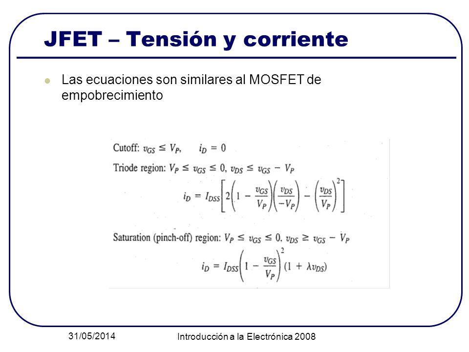 JFET – Tensión y corriente