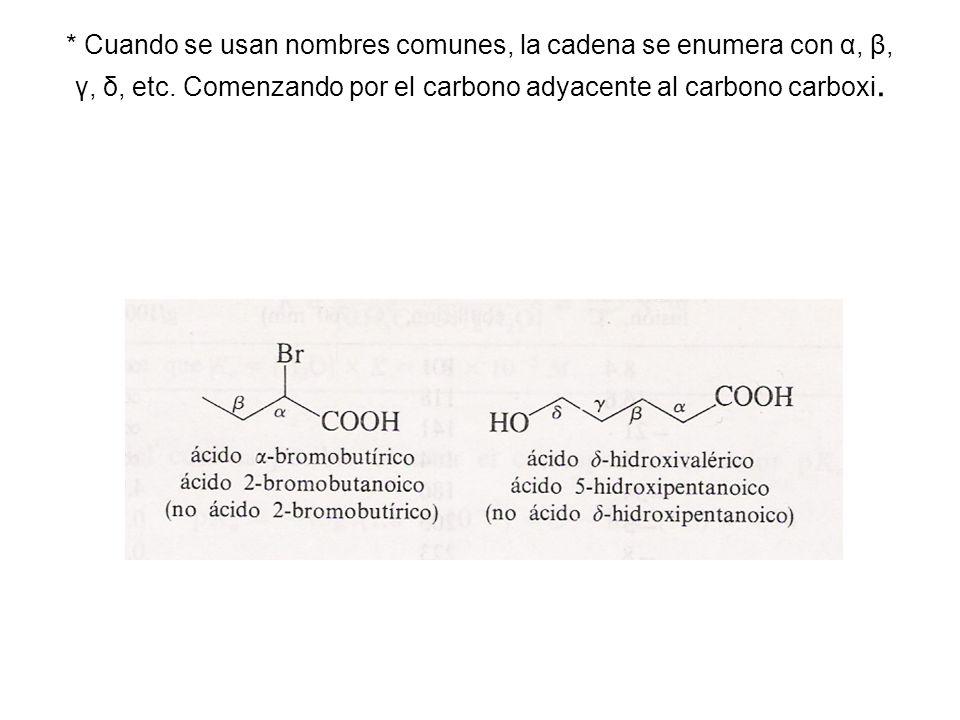* Cuando se usan nombres comunes, la cadena se enumera con α, β, γ, δ, etc.