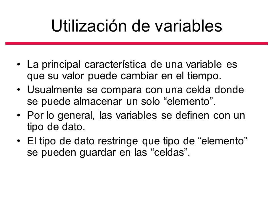 Utilización de variables