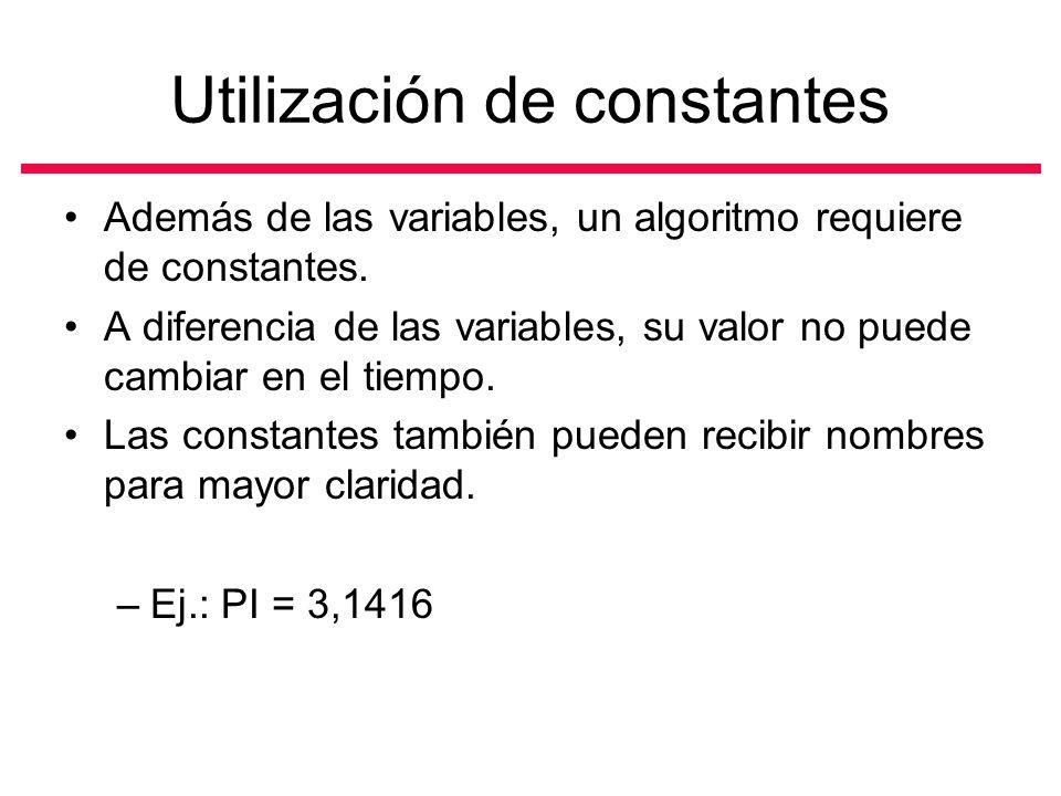 Utilización de constantes