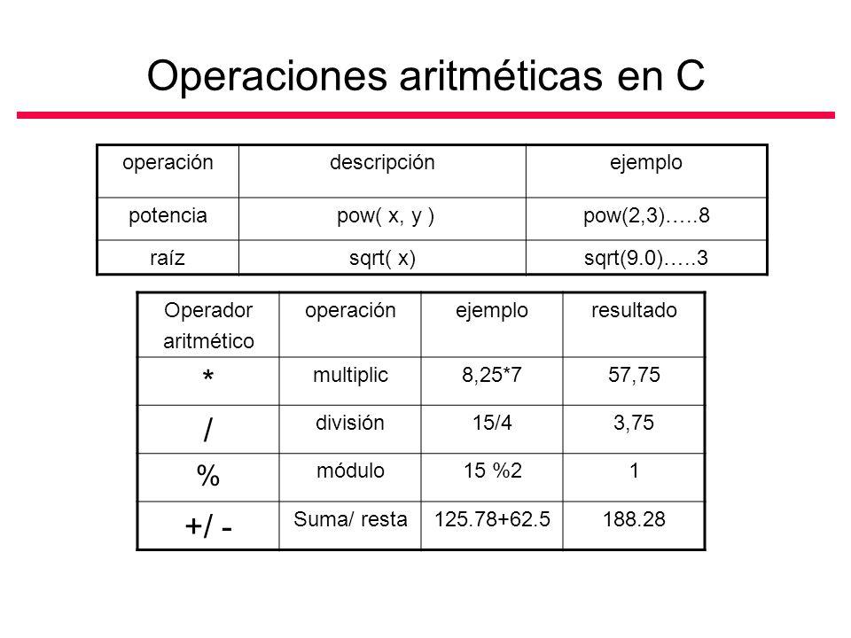Operaciones aritméticas en C