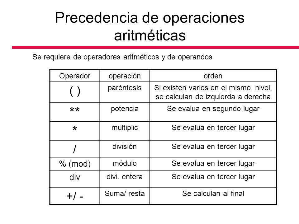 Precedencia de operaciones aritméticas