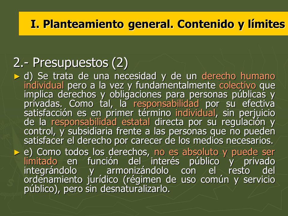 I. Planteamiento general. Contenido y límites
