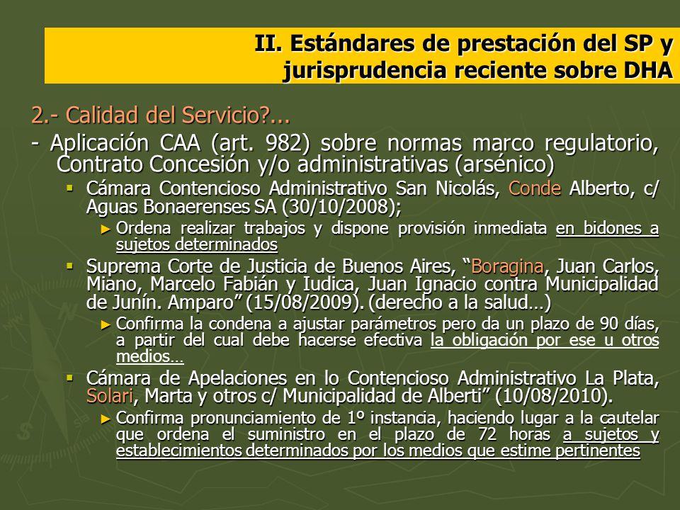 II. Estándares de prestación del SP y jurisprudencia reciente sobre DHA