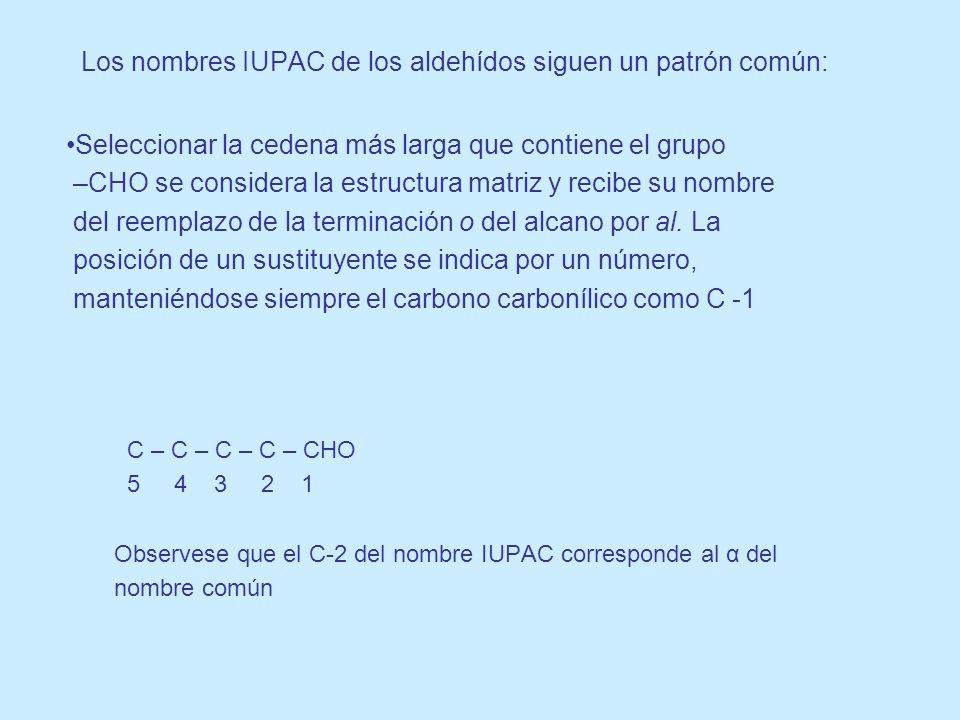 Los nombres IUPAC de los aldehídos siguen un patrón común:
