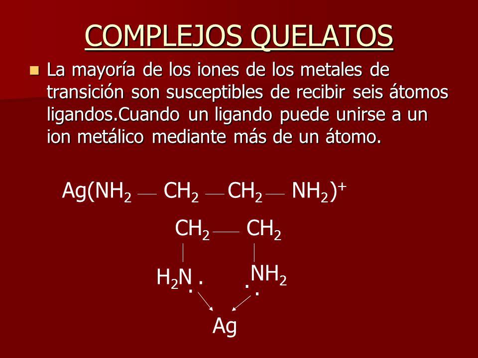 COMPLEJOS QUELATOS Ag(NH2 CH2 CH2 NH2 )+ CH2 CH2 NH2 H2N . . . . Ag