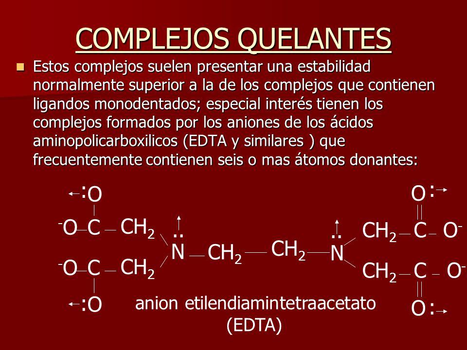 COMPLEJOS QUELANTES : : O O -O C CH2 N .. .. CH2 C O- CH2 CH2 N -O C