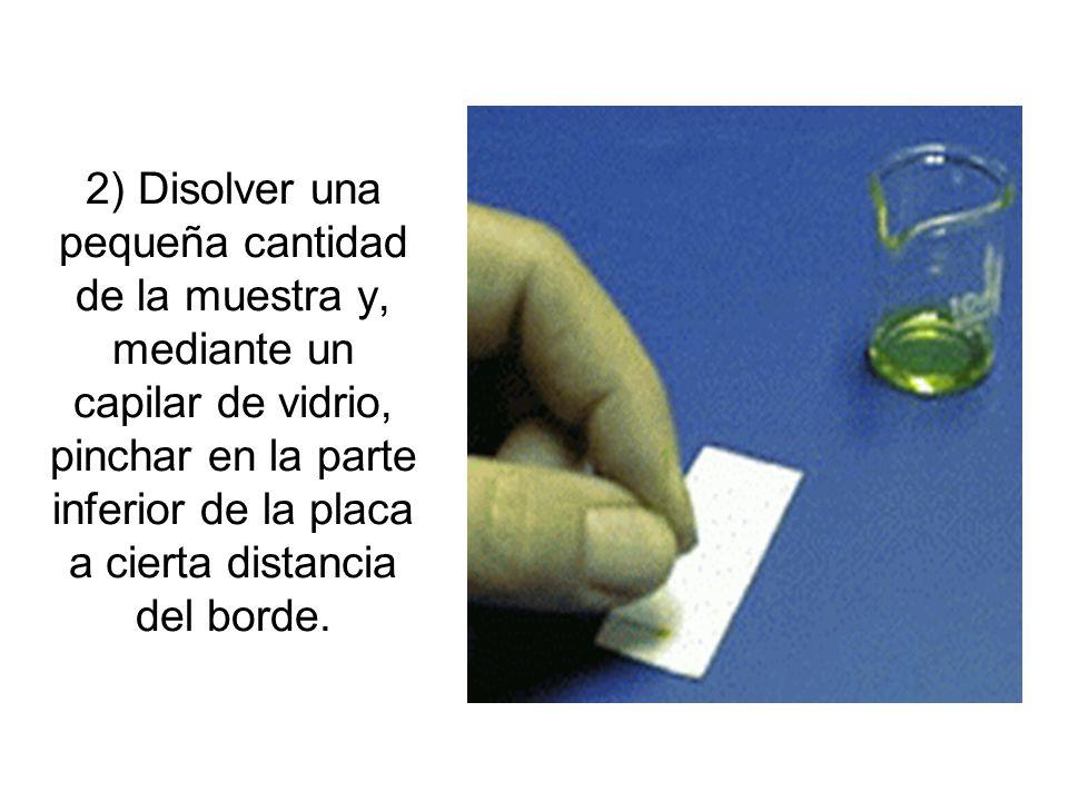 2) Disolver una pequeña cantidad de la muestra y, mediante un capilar de vidrio, pinchar en la parte inferior de la placa a cierta distancia del borde.