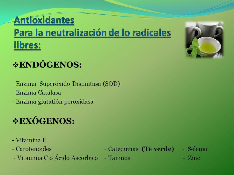 Antioxidantes Para la neutralización de lo radicales libres: