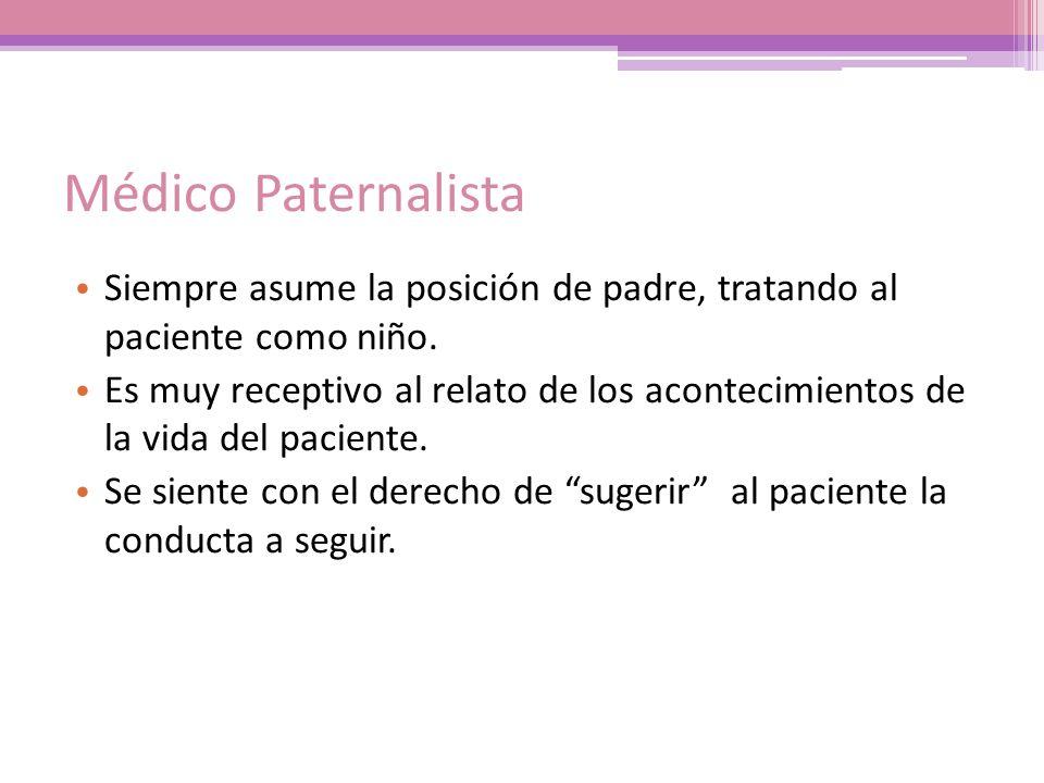 Médico Paternalista Siempre asume la posición de padre, tratando al paciente como niño.