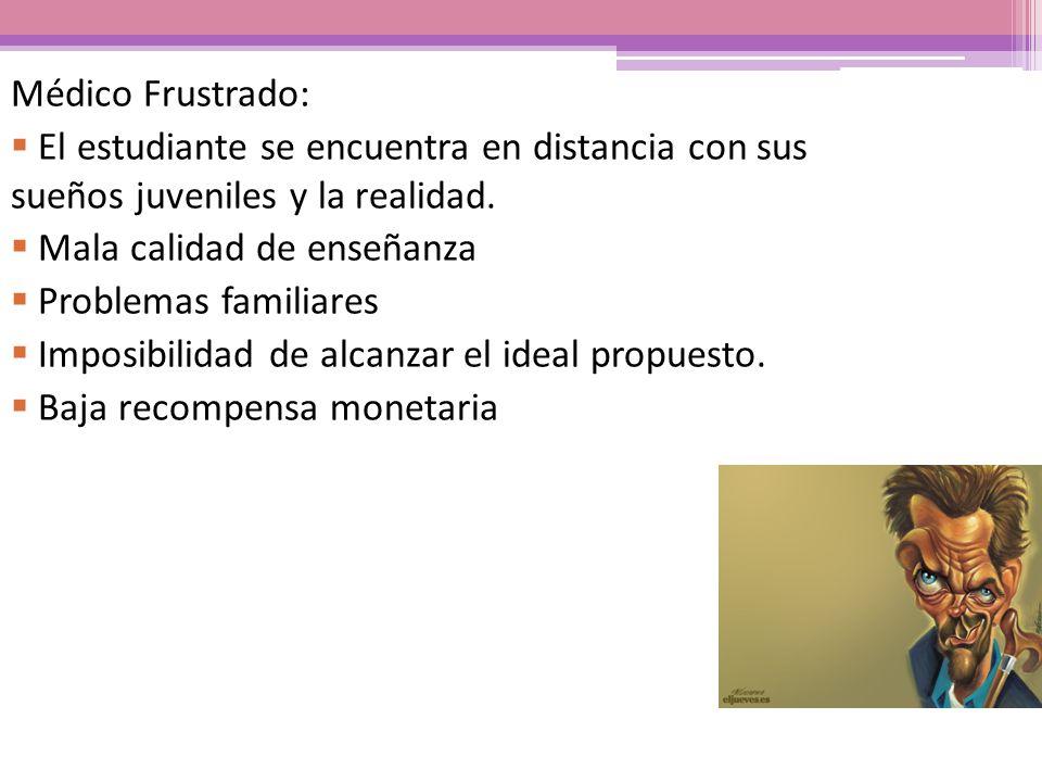 Médico Frustrado: El estudiante se encuentra en distancia con sus sueños juveniles y la realidad. Mala calidad de enseñanza.
