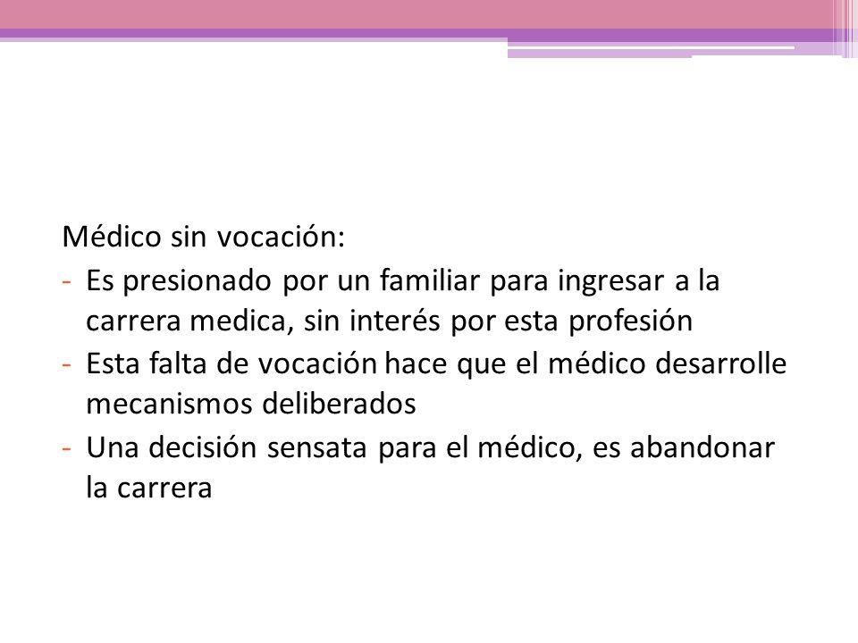 Médico sin vocación: Es presionado por un familiar para ingresar a la carrera medica, sin interés por esta profesión.