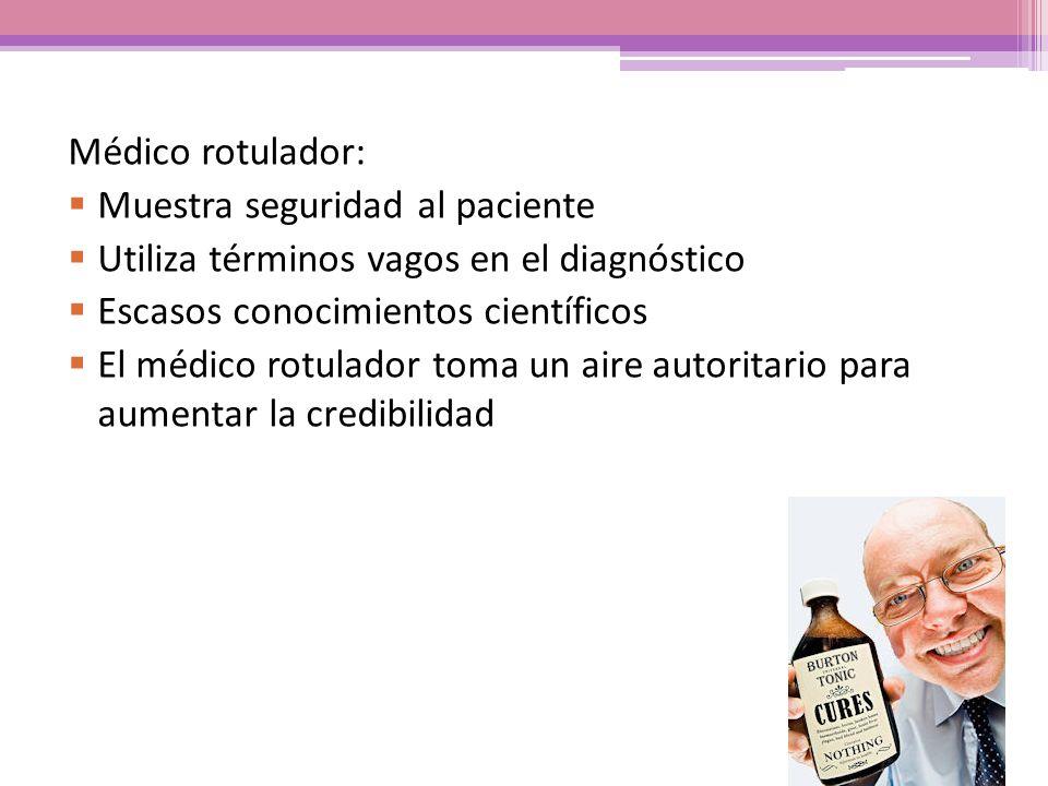 Médico rotulador: Muestra seguridad al paciente. Utiliza términos vagos en el diagnóstico. Escasos conocimientos científicos.