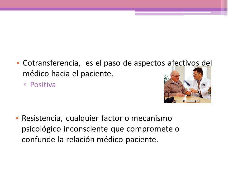Cotransferencia, es el paso de aspectos afectivos del médico hacia el paciente.