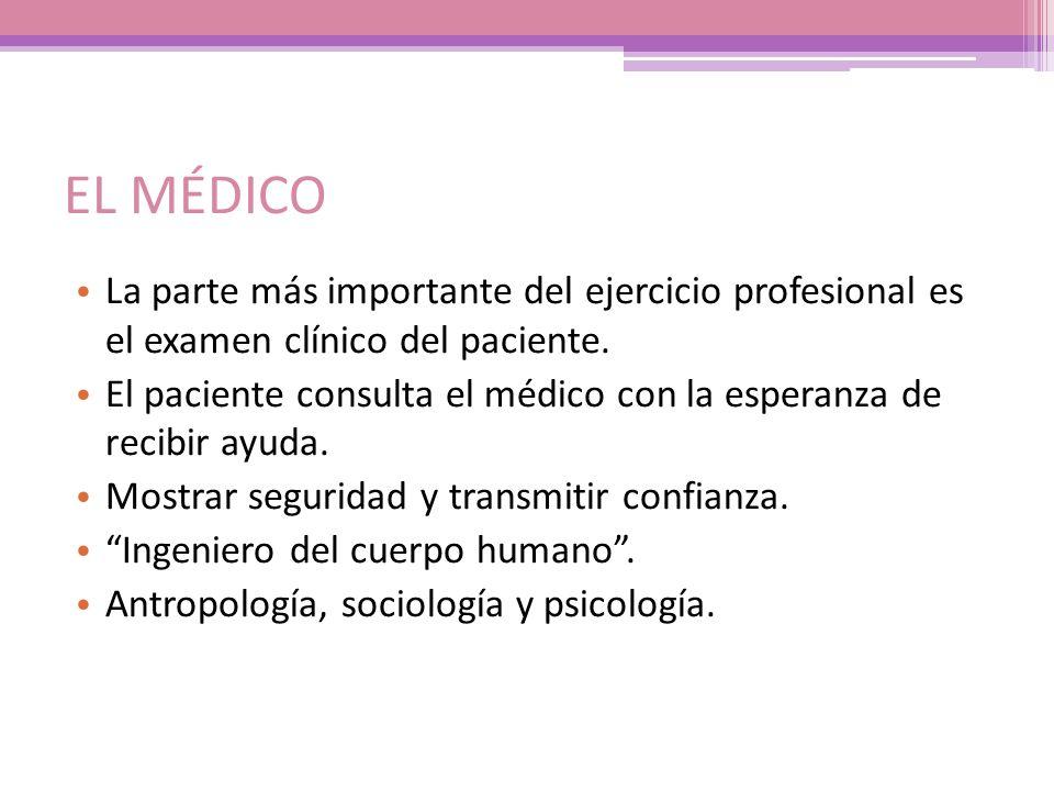 EL MÉDICO La parte más importante del ejercicio profesional es el examen clínico del paciente.