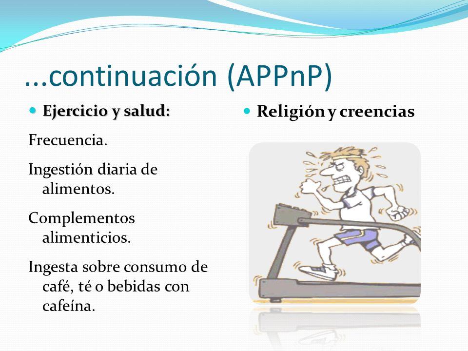 ...continuación (APPnP) Religión y creencias Ejercicio y salud: