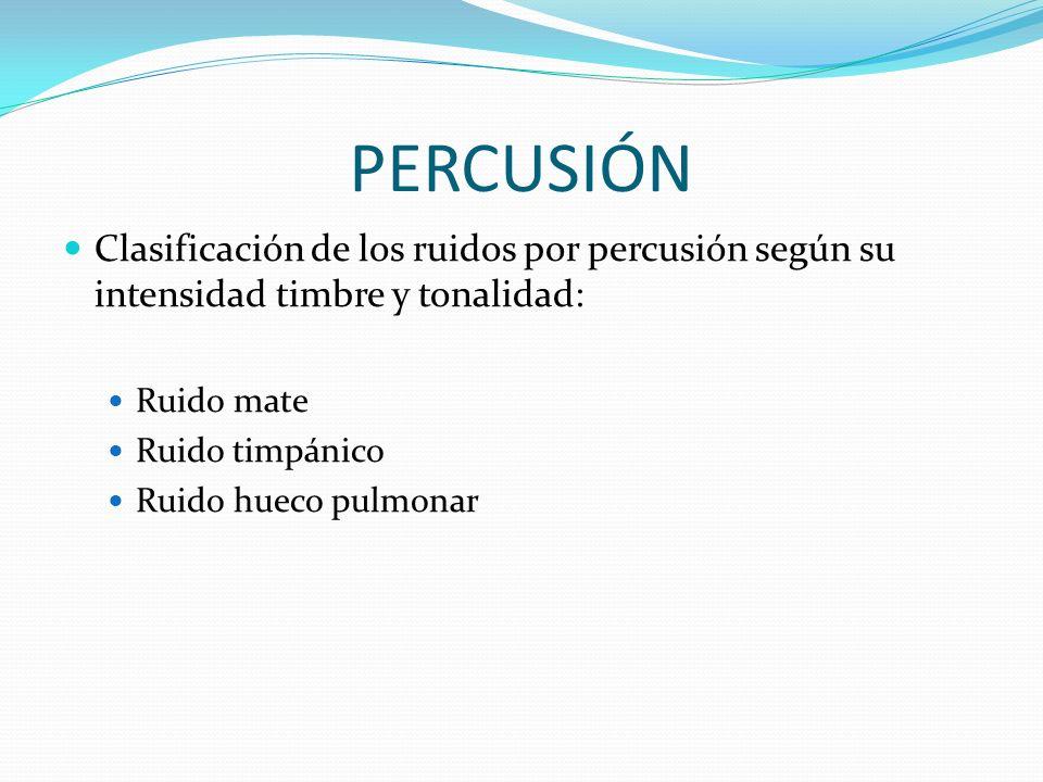 PERCUSIÓN Clasificación de los ruidos por percusión según su intensidad timbre y tonalidad: Ruido mate.