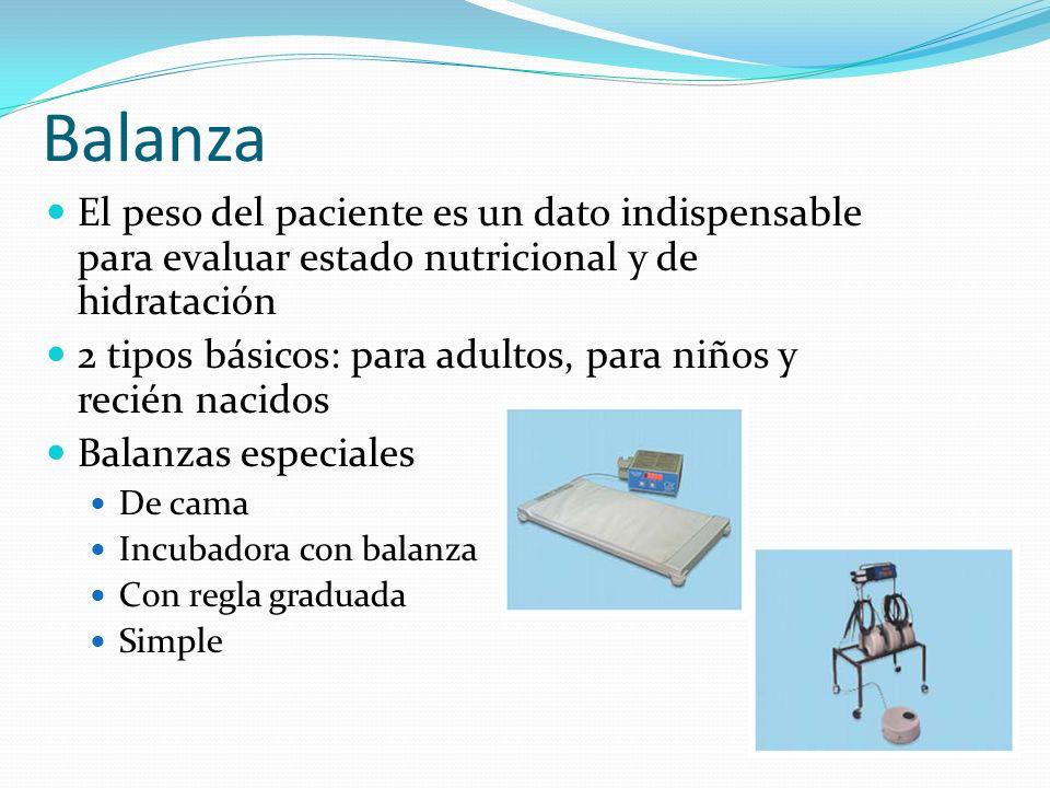 Balanza El peso del paciente es un dato indispensable para evaluar estado nutricional y de hidratación.