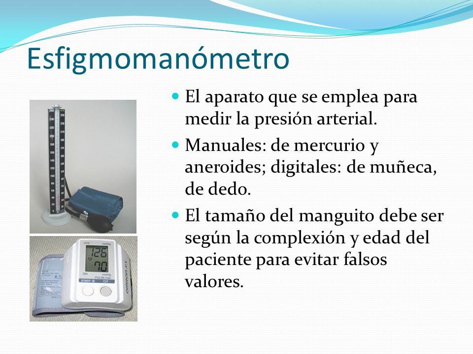 Esfigmomanómetro El aparato que se emplea para medir la presión arterial. Manuales: de mercurio y aneroides; digitales: de muñeca, de dedo.