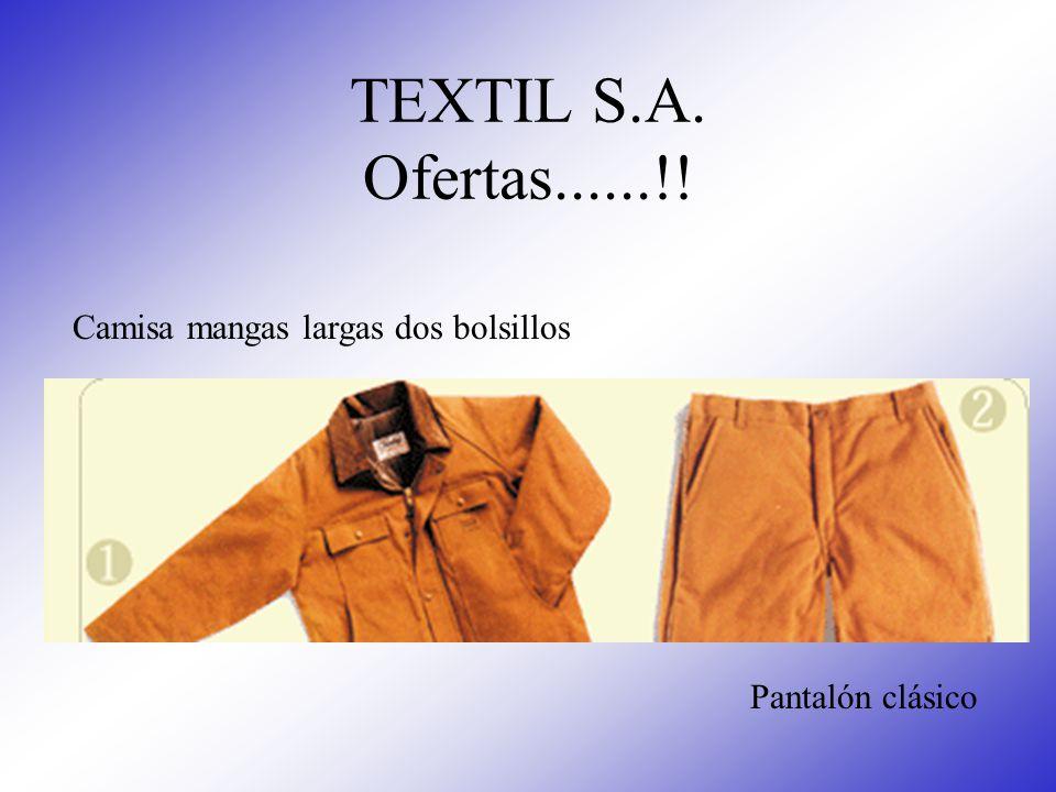 TEXTIL S.A. Ofertas......!! Camisa mangas largas dos bolsillos