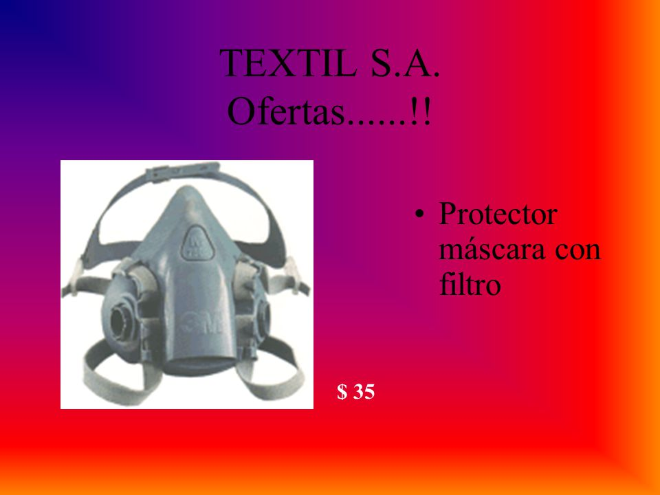 TEXTIL S.A. Ofertas......!! Protector máscara con filtro $ 35