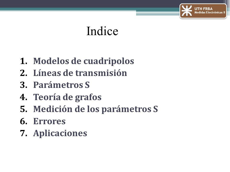 Indice Modelos de cuadripolos Líneas de transmisión Parámetros S