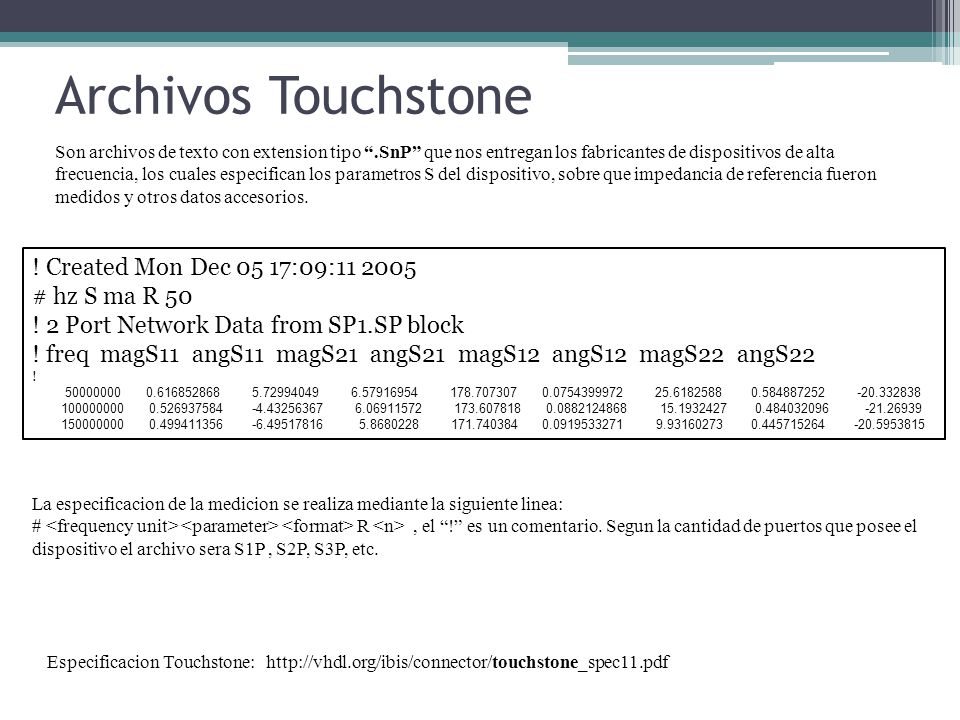 Archivos Touchstone ! Created Mon Dec 05 17:09:11 2005 # hz S ma R 50