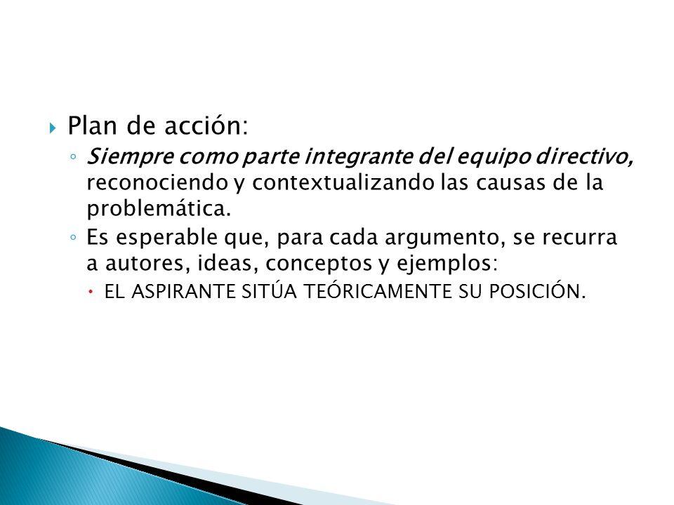 Plan de acción: Siempre como parte integrante del equipo directivo, reconociendo y contextualizando las causas de la problemática.