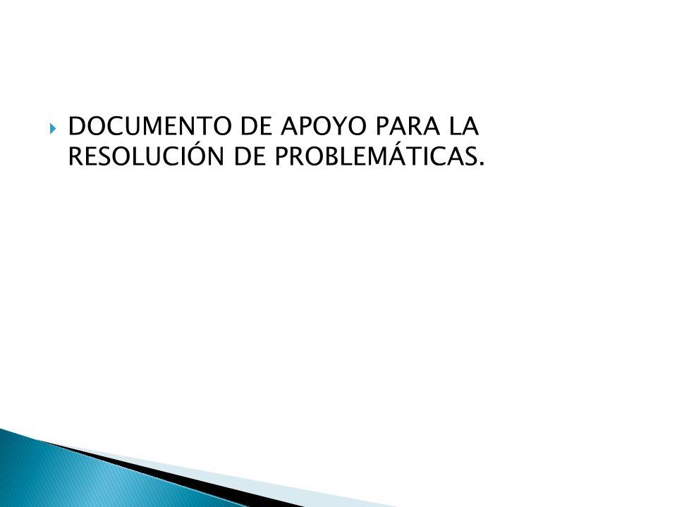 DOCUMENTO DE APOYO PARA LA RESOLUCIÓN DE PROBLEMÁTICAS.