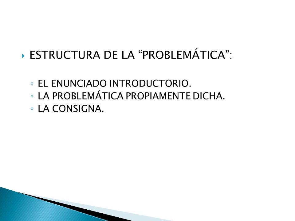 ESTRUCTURA DE LA PROBLEMÁTICA :