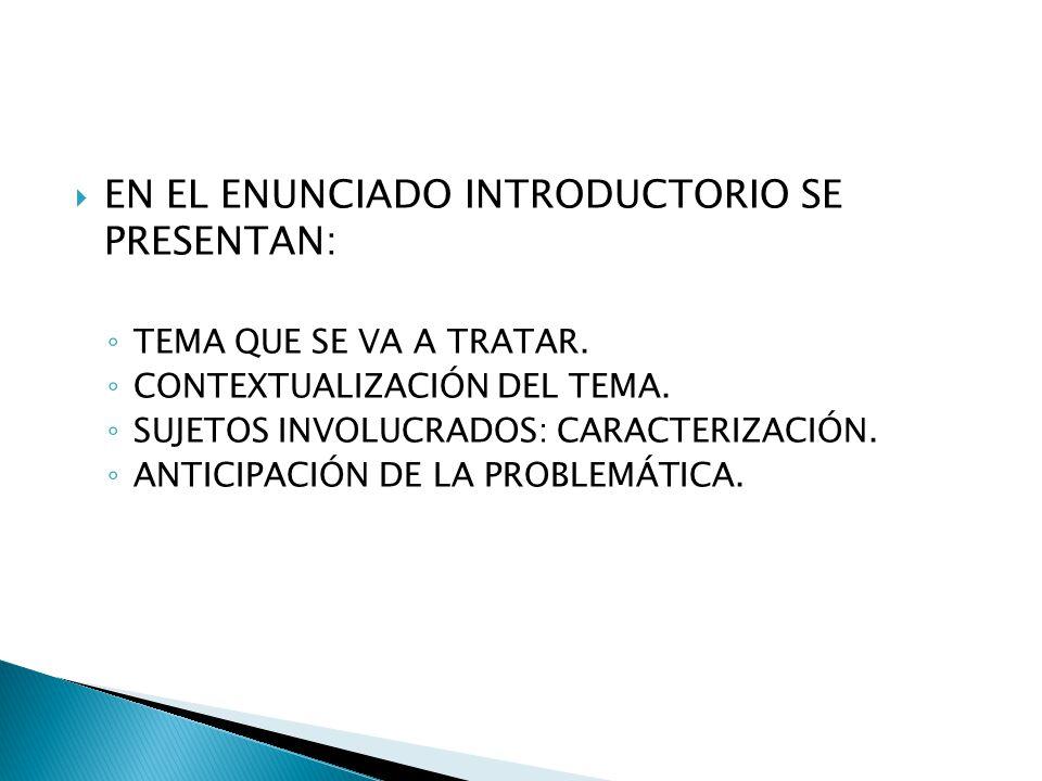 EN EL ENUNCIADO INTRODUCTORIO SE PRESENTAN: