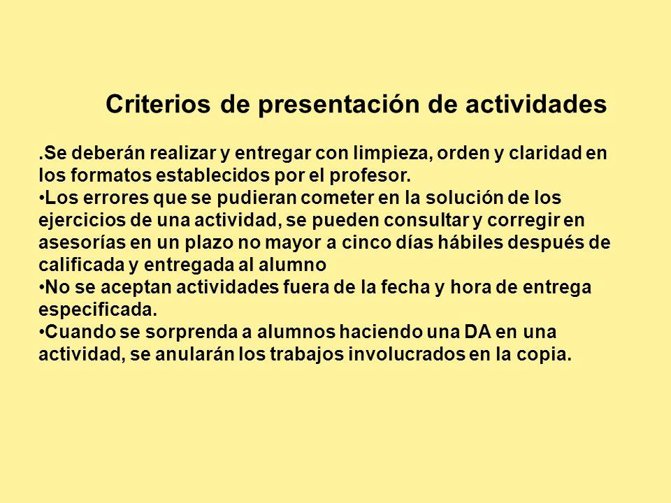 Criterios de presentación de actividades