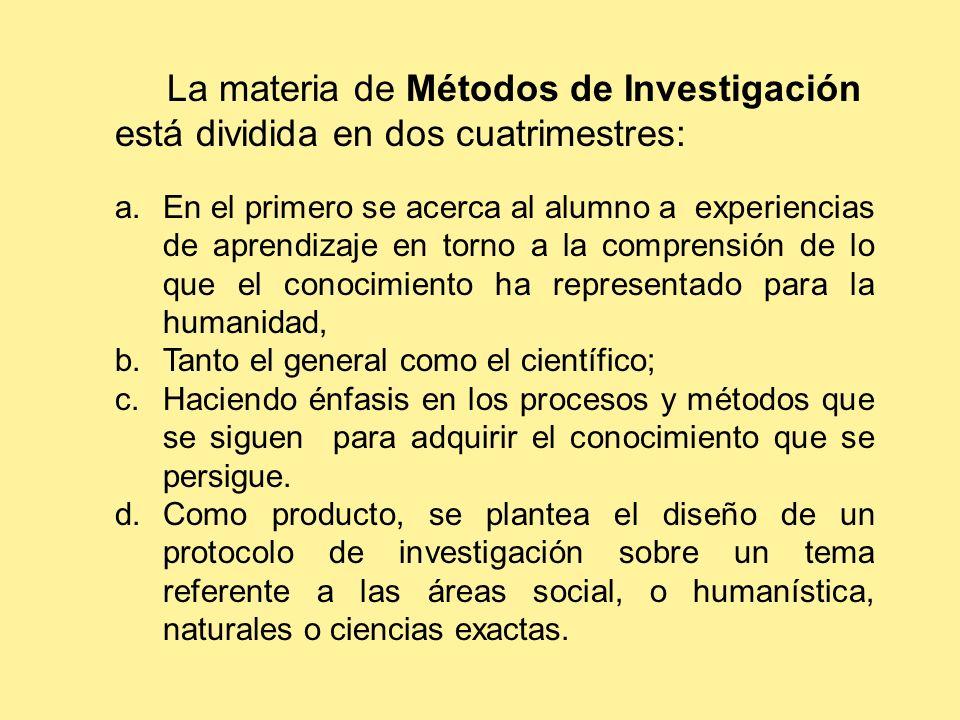 La materia de Métodos de Investigación está dividida en dos cuatrimestres: