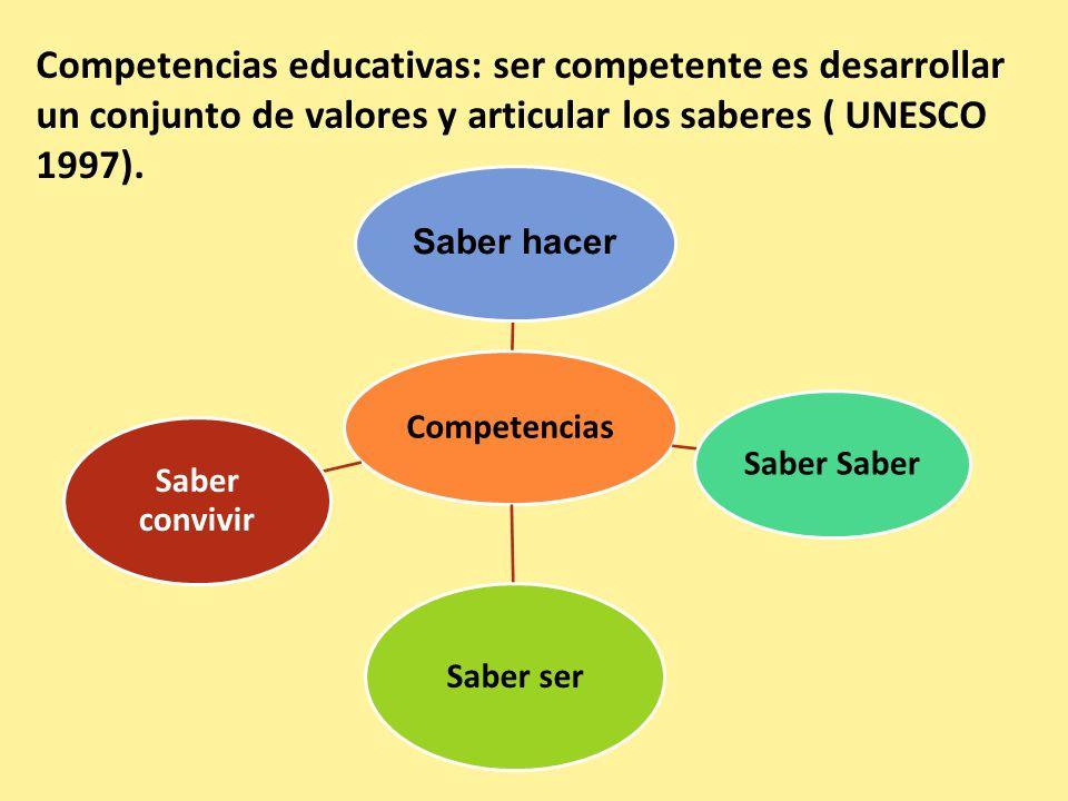 Competencias educativas: ser competente es desarrollar un conjunto de valores y articular los saberes ( UNESCO 1997).