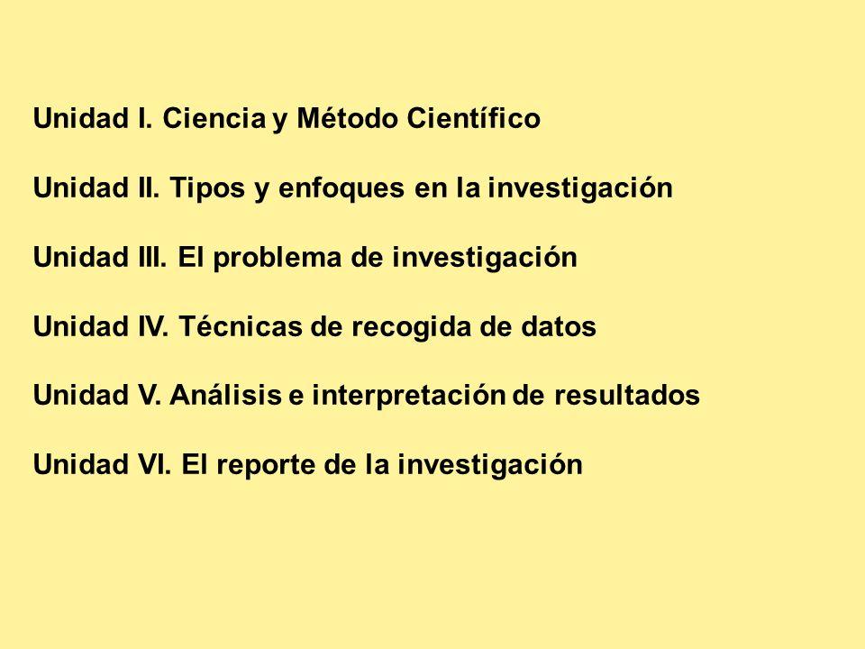 Unidad I. Ciencia y Método Científico