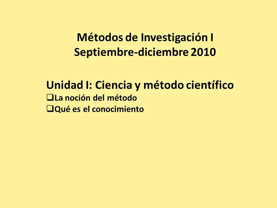 Métodos de Investigación I Septiembre-diciembre 2010