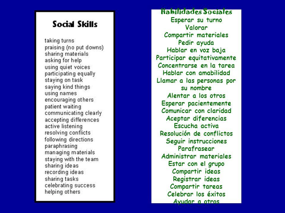 Habilidades Sociales Esperar su turno Valorar Compartir materiales