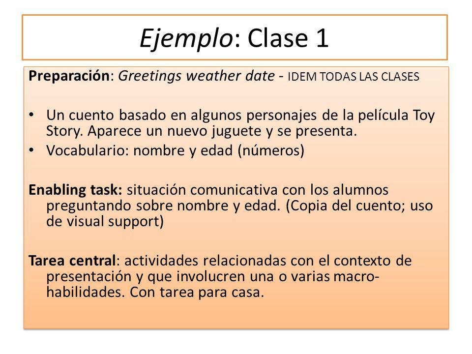 Ejemplo: Clase 1 Preparación: Greetings weather date - IDEM TODAS LAS CLASES.