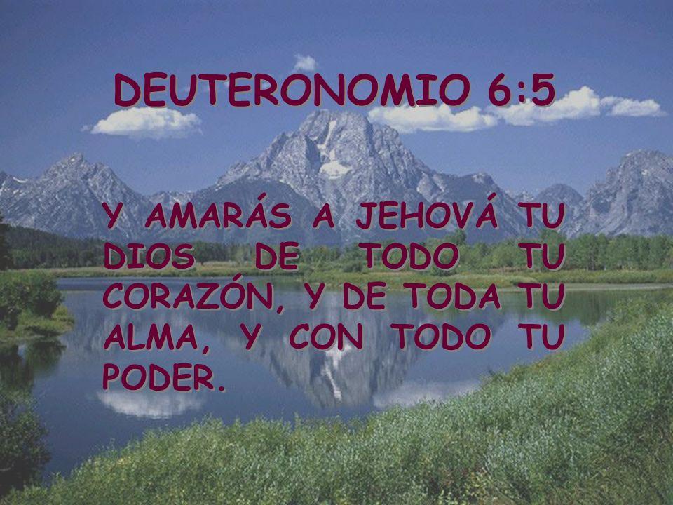 DEUTERONOMIO 6:5 Y AMARÁS A JEHOVÁ TU DIOS DE TODO TU CORAZÓN, Y DE TODA TU ALMA, Y CON TODO TU PODER.