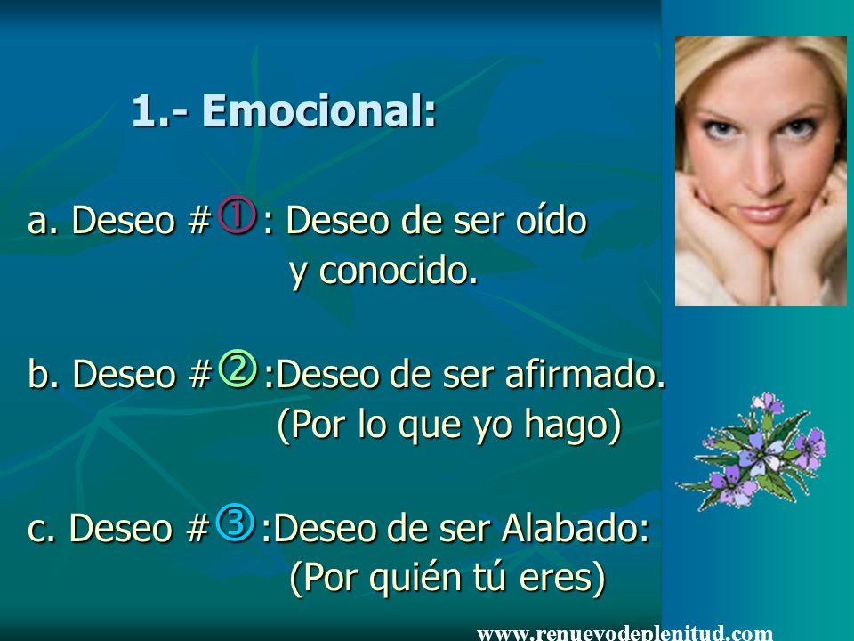 1.- Emocional: a. Deseo #: Deseo de ser oído y conocido.