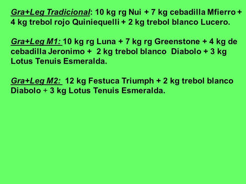 Gra+Leg Tradicional: 10 kg rg Nui + 7 kg cebadilla Mfierro + 4 kg trebol rojo Quiniequelli + 2 kg trebol blanco Lucero.