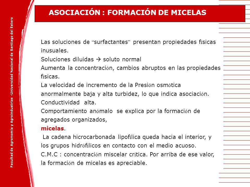 ASOCIACIÓN : FORMACIÓN DE MICELAS