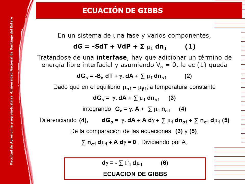 dG = -S dT + . dA + ∑ 1 dn1 (2)